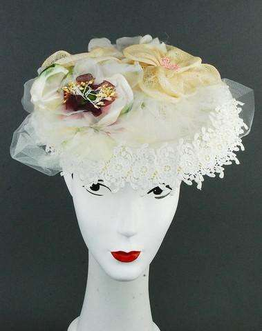 Off white Lace, sinamay and flower wedding headpiece