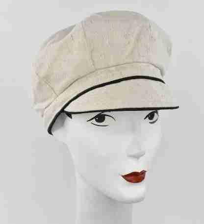 Off white organic cotton cap with black trim