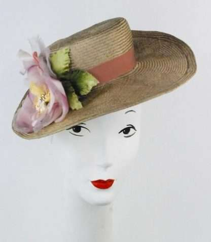 Parisisal straw boater with large silk flower