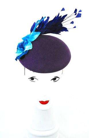 Purple beret with vintage blue velvet flower
