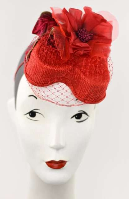 Red Heart shaped parisisal straw with silk flower and netting