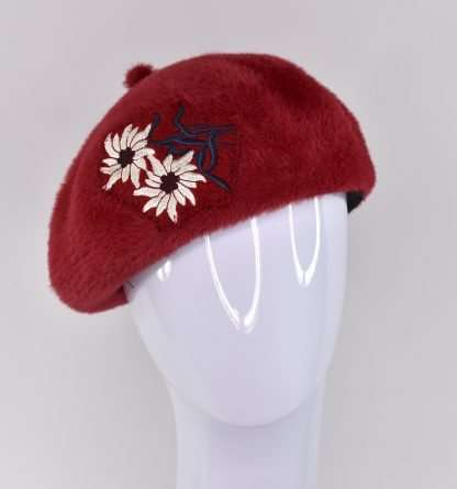 Red burguny tone wool mohair beret with embroidered flowers appliqué