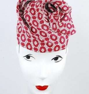 Red circles print sculpted headpiece