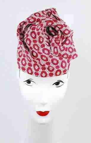 Red circles print sculpted headpiece