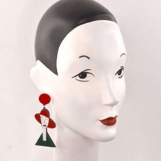 Red hat girl dangly earrings