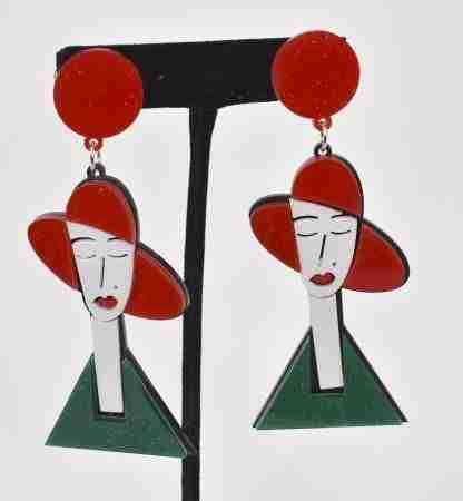 Red hat girl dangly earrings