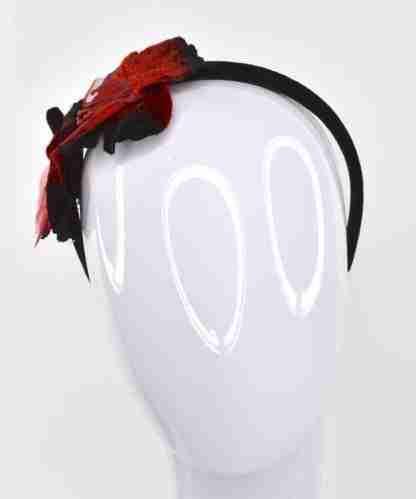 Red velvet flowers on velvet headband