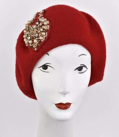 Red wool beret with antique pearl trim