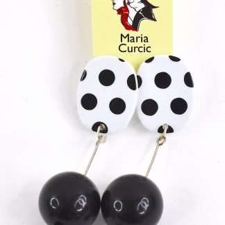 Retro 60's inspired black bobble earrings with dots