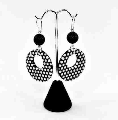 Retro 80's inspired black and white earrings