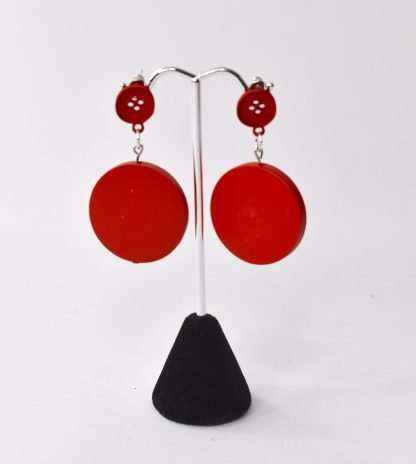 Retro 80's inspired red button earrings