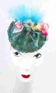 Small green beaded headpiece/fascinator