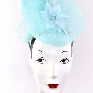 Stylish blue sculpted ascot/derby/event headpiece