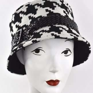 Tweed bucket hat with black patent trim and buckle