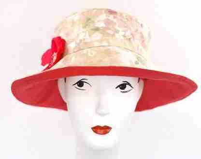 "Watercolor floral print ""Gardenia"" summer garden hat"