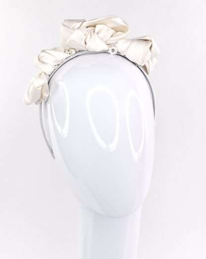 Winter white 100% silk knot headband. One of a kind