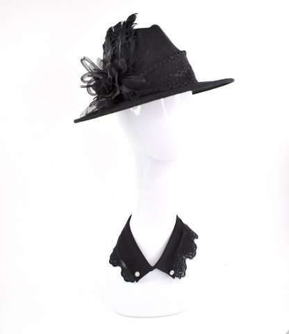Black wool hat fedora style with trims