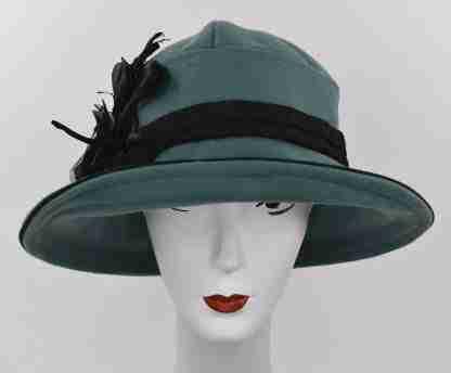 Green wool cloche hat with silk flower