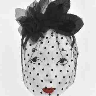 Black antique dot veiling headband with silk flowers
