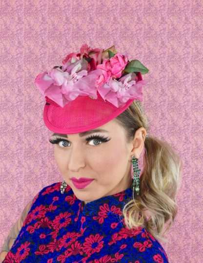 Pink saucer headpiece with pink flowers