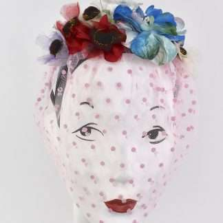 pink spotted veiled headband with fabric and velvet flowers