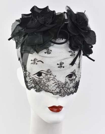 Black antique veiling headband with silk flowers