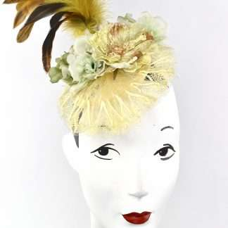 Yellow lace with flower and feathers