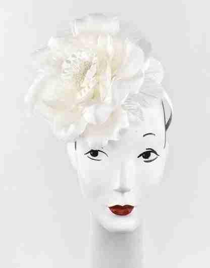 Large silk ivory flower on headband